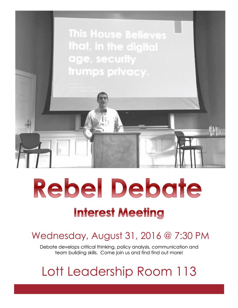 Rebel Debate Interest Meeting